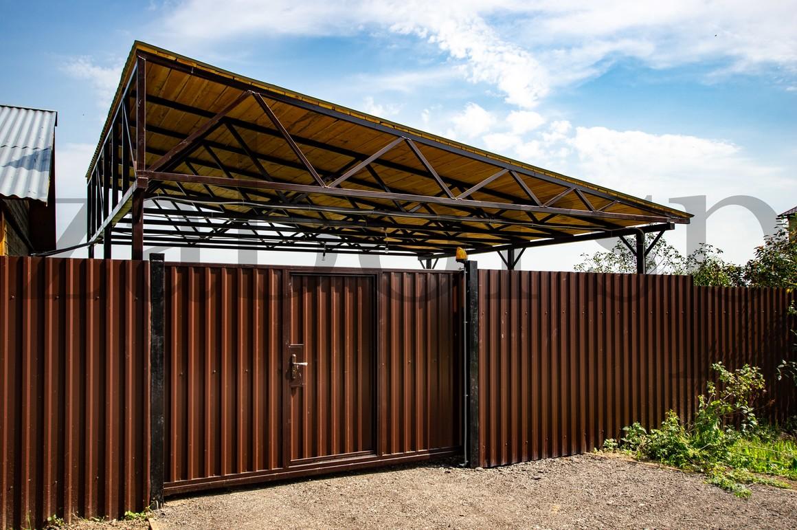 доставка ворота с крышей из профнастила фото перепутать опоры местами